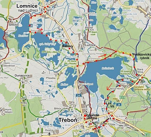 z Lomnice kolem rybníků Velký a Malý Tisý k Rožmberku a přes Starou Hlínu do Třeboně 23.8.2014