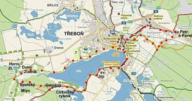 prohlídka okolí Třeboně, pak z hráze rybníka Svět okruh po NS kolem rybníka zpět do Třeboně 22.8.2014