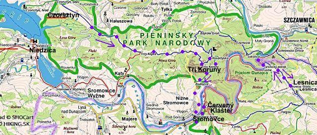 Niedzica, Czorsztyn, pak po MTZ Tři kopce, Tři Koruny, Šromovce, Červený Klášter, pak z Lesnice k Dunajci a zpět 13.8.2014
