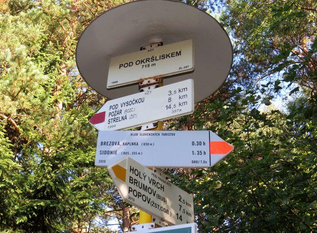 rozcestník na hranici - české i slovenské směrovky na jednom stojanu