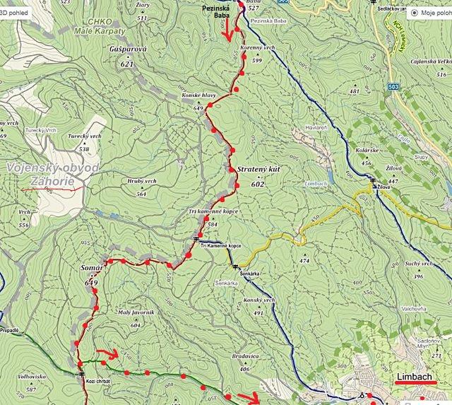 trasa z Pezinské Baby přes Koňské hlavy a Simára, Medvědím údolím do Limbachu 28.9.2014