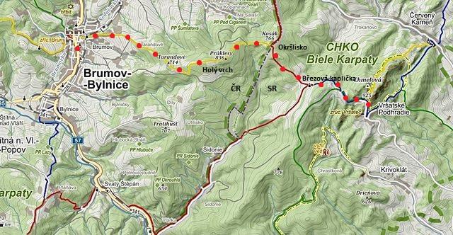 trasa z moravského Brumova přes hranice do slovenského Vršatce 24.9.2014