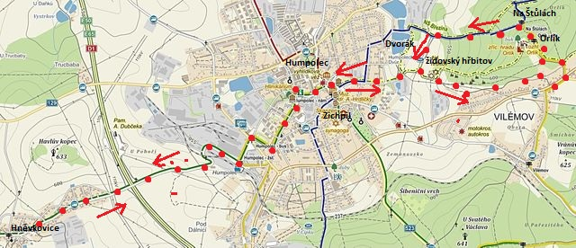 trasa z Hněvkovic do Humpolce, pak po NS Březina na hrad Orlík, k rozcestí Na Štůlách a zpět do Humpolce a Hněvkovic 4.10.2014