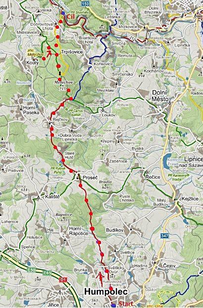 trasa vycházky z Humpolce přes Proseč a Rohuli, přes vrchol Melechova ke tvrzi a na Stvořidla 25.10.2014