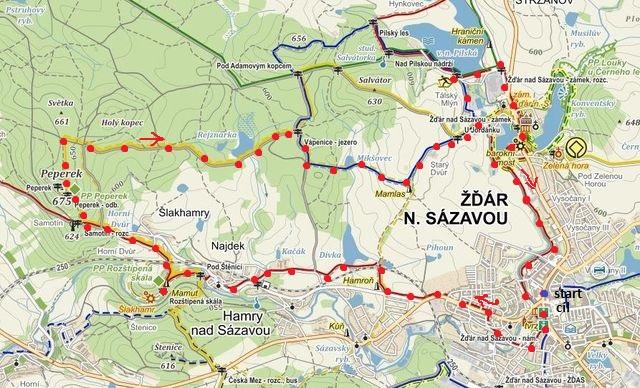 trasa ze Žďáru přes Hamry, Peperek, jezírko Vápenice k Mamlasovi a Pilské nádrži, pak do centra Žďáru 26.10.2014