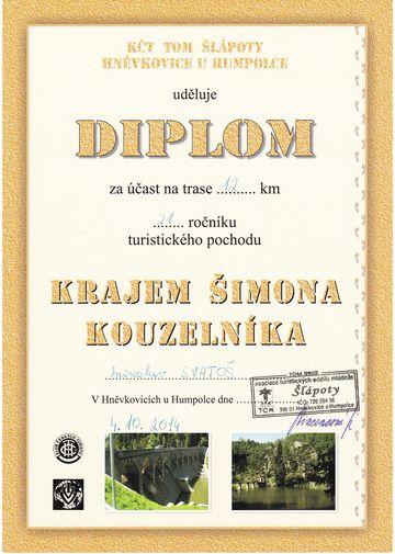 diplom od hněvkovických Šlápot