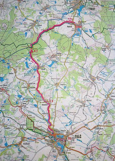 trasa pochodu Vysočinou k Telči 2014