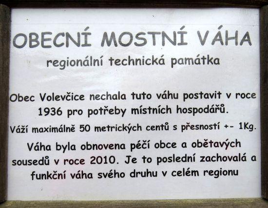 informace o technické památce ve Volevčicích