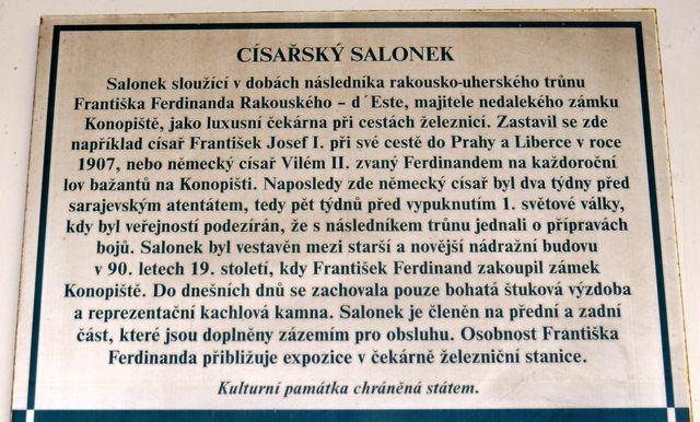 informace o expozici v Císařském salonku na benešovském nádraží