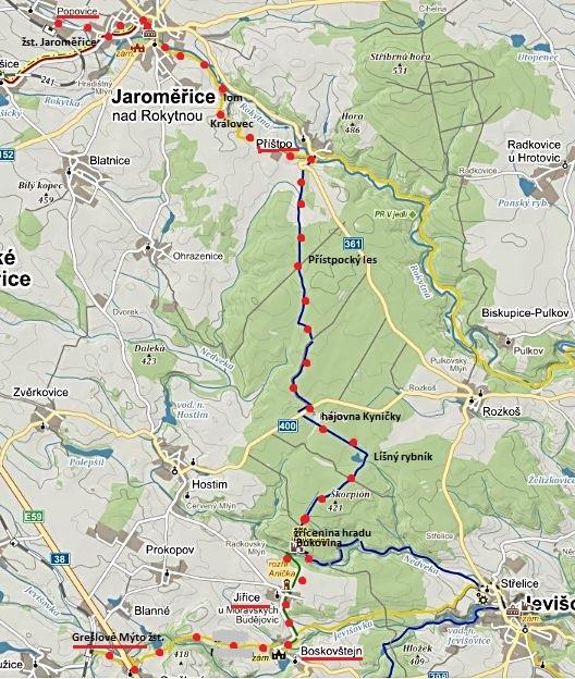 trasa z Grešlového Mýta přes Boskovštejn, Jiřice, Bukovinu a Příštpo do Jaroměřic, pak na ČD do Popovic 29.11.2014