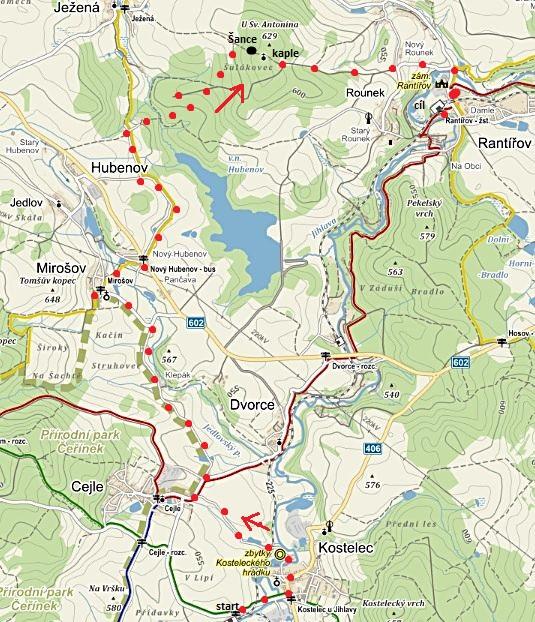 trasa z Kostelce přes Cejle a Mirošov na vrch U sv. Antonína a přes Rounek do Rantířova 28.12.2014
