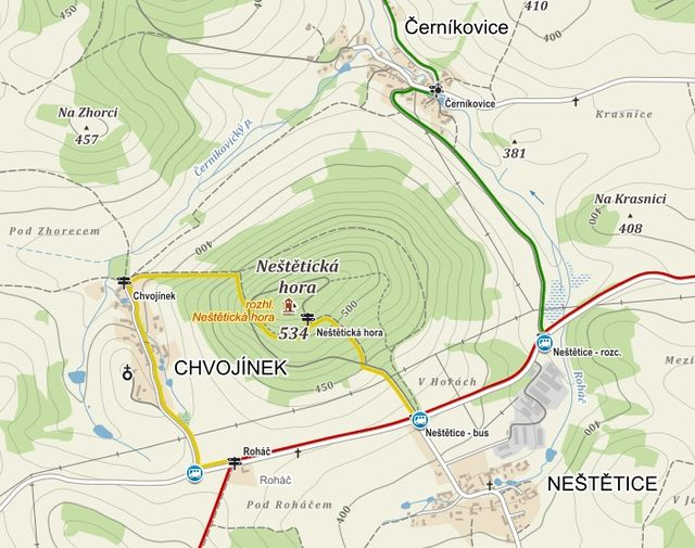 trasa po žlutě značené stezce k rozhledně, pak do Chvojínku a po ČTZ na parkoviště