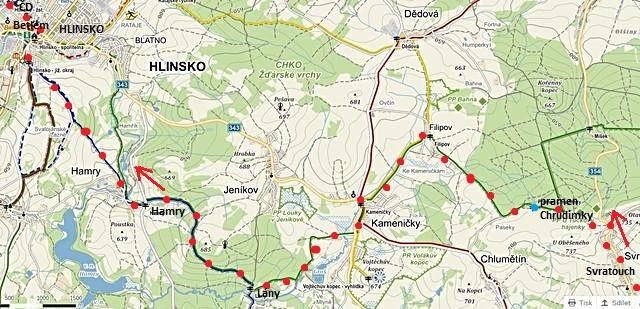 trasa ze Svratouchu k prameni Chrudimky, přes Kameničky a Hamry do Hlinska 30.12.2014