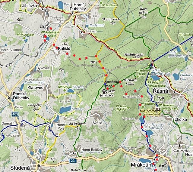 trasa z Mrákotína na Javořici a kolem Studánky Páně přes Kaliště do Jihlávky na vlak 31.12.2014
