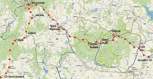trasa z Nové Bukové na Křemešník, pak přes Nový Rychnov na Čeřínek a do Kostelce 17.1.2015