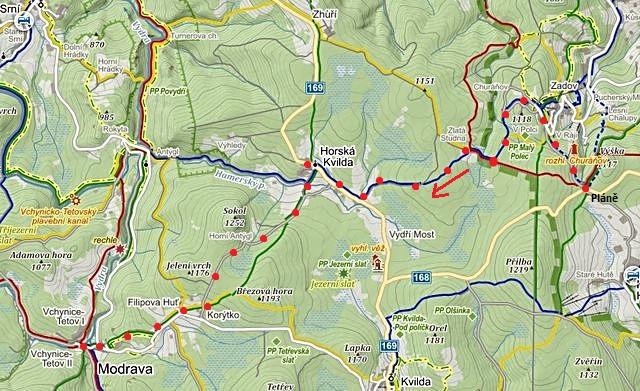 na běžkách z Plání přes Churáňov, Zlatou Studni, Horskou Kvildu, Filipovu Huť do Modravy 29.1.2015