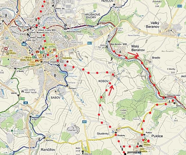 trasa z Malého Beranova přes Puklice a Kosov do Jihlavy 24.1.2015