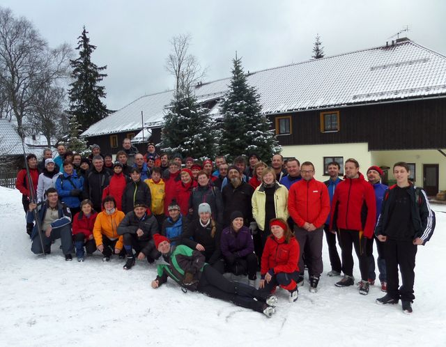 přátelé z Třebíče, kteří lyžovali v Prášilech 22.-25. 1. 2015