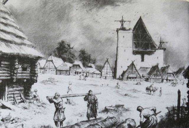 Nová Jihlava, stavba domů na náměstí a kostela sv. Jakuba počátkem druhé poloviny 13. století