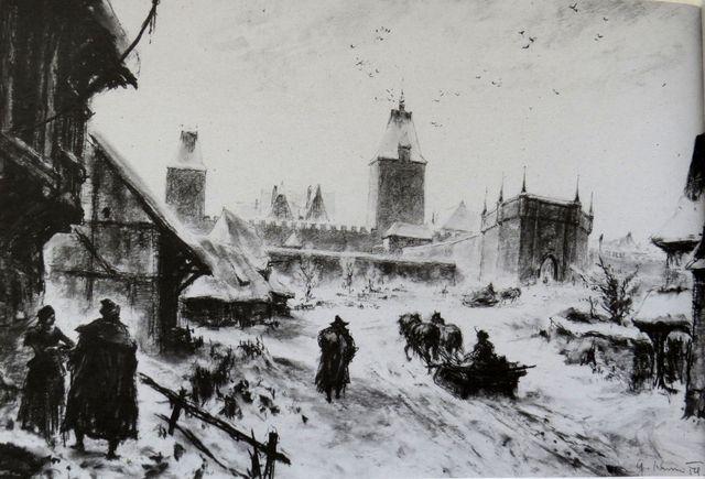 Barbakan před Špitálskou branou v polovině 16. století