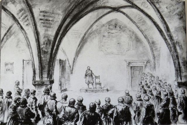 Vystoupení jihlavských mistrů pěvců v radniční síni kolem roku 1610