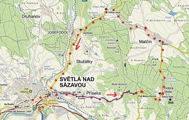 vycházka ze Světlé přes Příseku, Dobrou Vodu, Malčín a Josefodol do Světlé nad Sázavou 7.3.2015