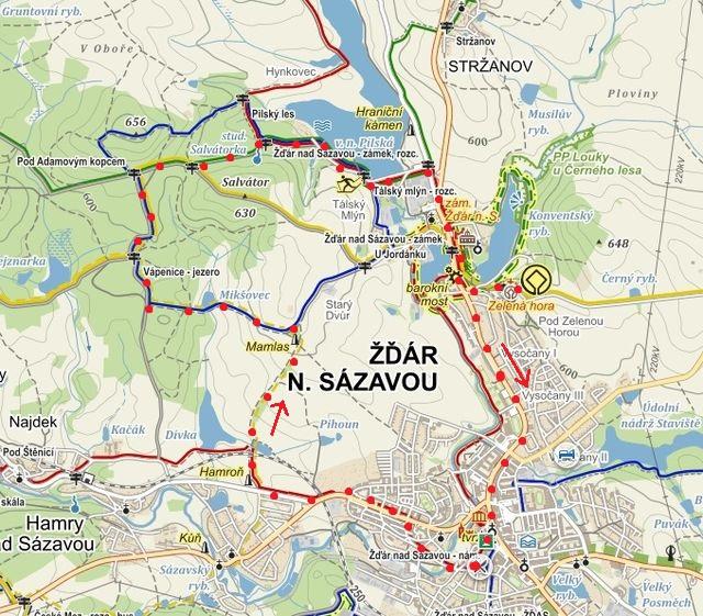trasa zahajovacího pochodu ze Žďáru přes jezírko Vápenice, kolem Pilské nádrže, zastavení na Zelené hoře a návrat do Žďáru 21.3.2015
