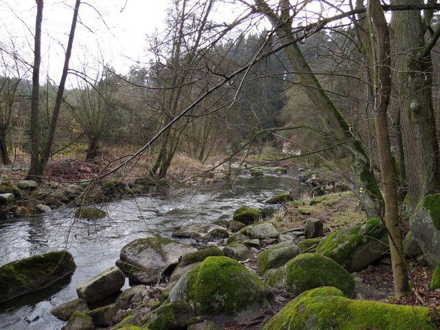 pěšina kolem řeky u mlýna - přístup na hrad Dub je prakticky znemožněn - vše je oploceno