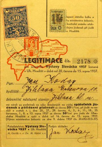 legitimace účastníka Výstavy Slovácka z roku 1937