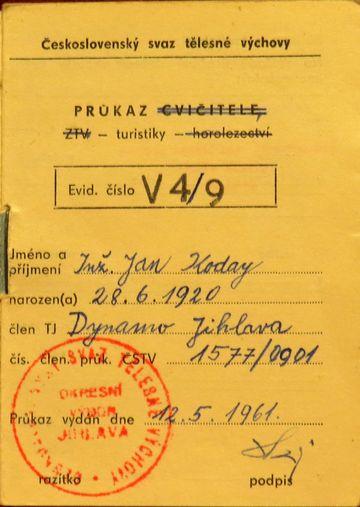 ČSTV - průkaz turistiky z roku 1961