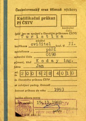 kvalifikační průkaz z roku 1988
