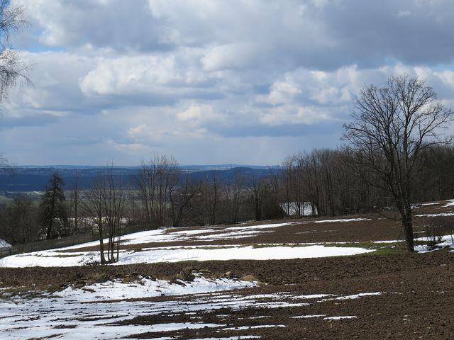 výhled na Řehořovskou pahorkatinu - uprostřed výrazný Kopeček (627 m)