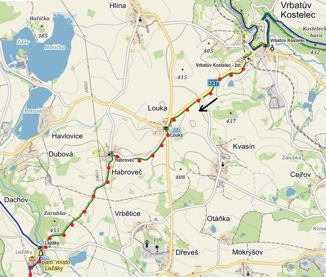 první část trasy z Vrbatova Kostelce přes Habroveč do Ležáků 11.4.2015