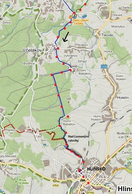 druhá část trasy - z Ležáků do Včelákova a přes Dolní a Horní Babákov do Hlinska 11.4.2015