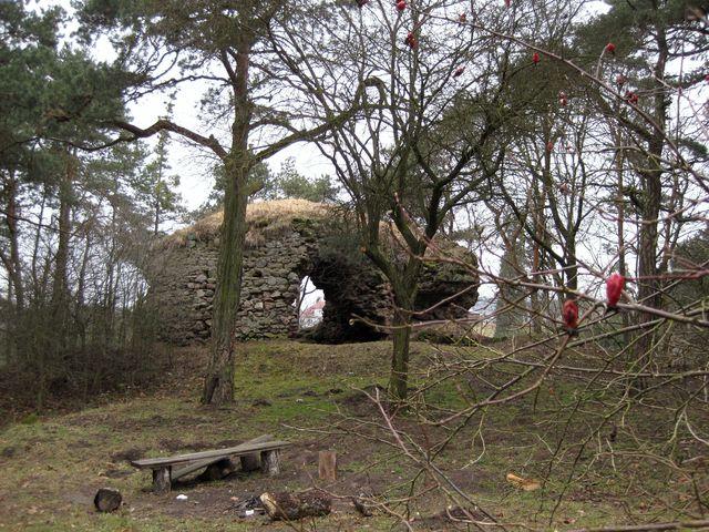 zbytky obytné věže gotické tvrze na návrší nad Tasovem