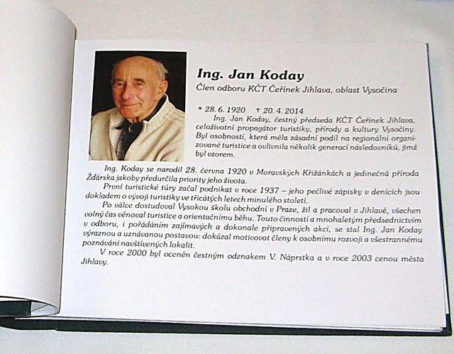 zápis o uvedení J. Kodaye do Síně slávy české turistiky; foto M. Bradová