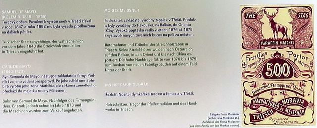 otec a syn de Mayo a Moritz Meissner, výrobci sirek v Třešti