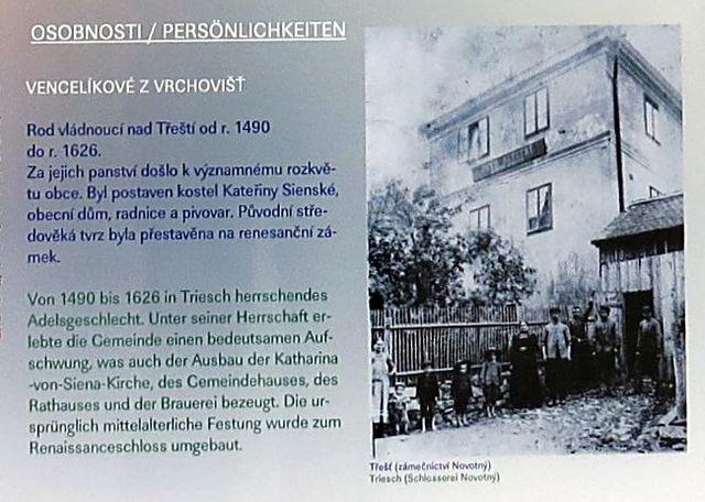 o majitelích panství Vencelících z Vrchovišť, vedle obrázek z Třešti ze začátku minulého století