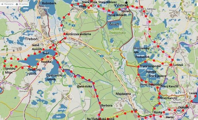 cyklojízda přes Stříbřec do Třeboně, kolem Světa a Opatovického rybníka na Majdalenu a zpět do Chlumu 8.5.2015