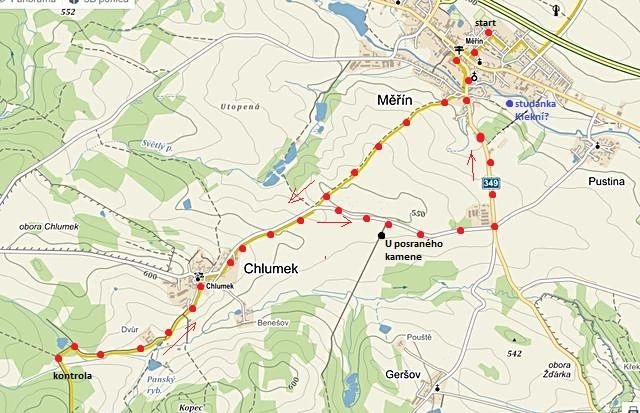 trasa z Měřína přes Chlumek a Dvůr, okruhem zpět do Měřína 6.6.2015