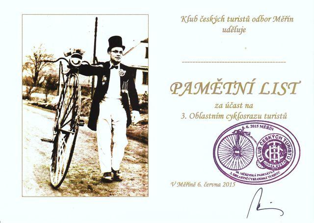 pamětní list pro cyklisty