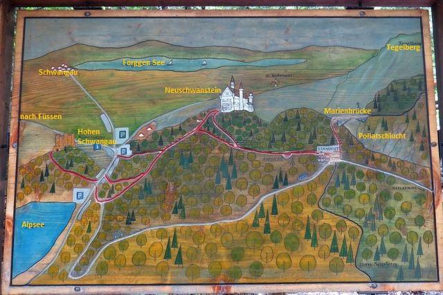 mapka okolí Neuschwansteinu