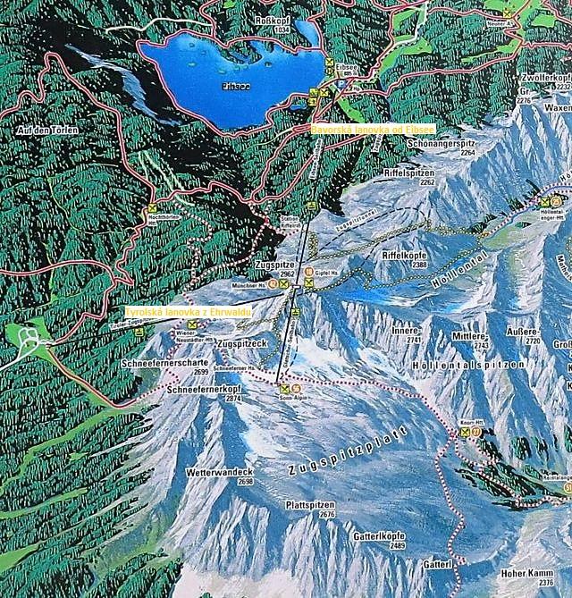 mapka okolí Zugspitze