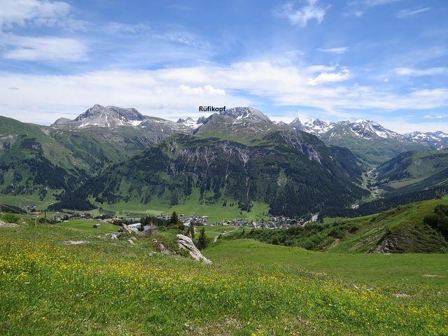 výhled na protější hřeben Lechtalských Alp