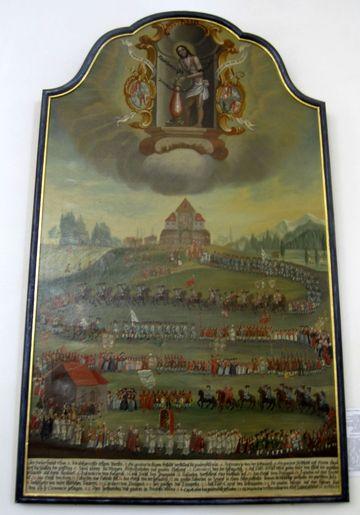 na obraze je vymalována soška bočovaného Spasitele a mohutná procesí