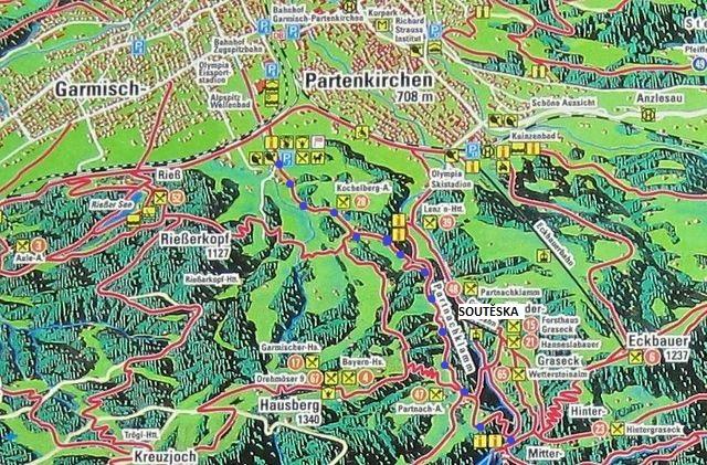 mapka okolí města Garmisch-Partenkirchen