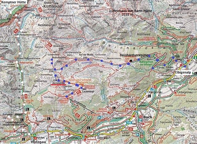 mapka trasy do Elbigenalp