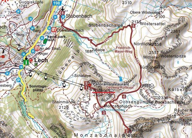 mapka cest na masivu Rüfikopf nad údolím řeky Lech