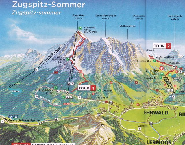 situační plánek možností výstupu na nejvyšší horu Německa
