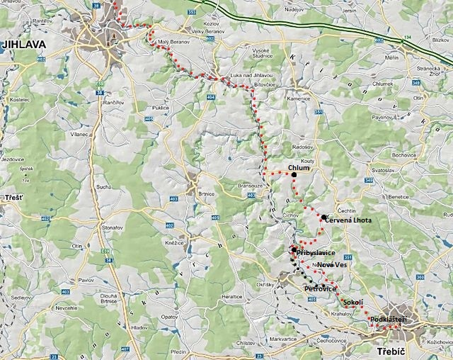 cyklotrasa z Jihlavy přes Chlum do Přibyslavic a Třebíče a zpět 12.7.2015